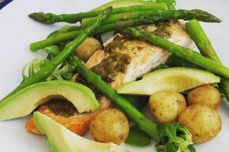 asparagus, salmon