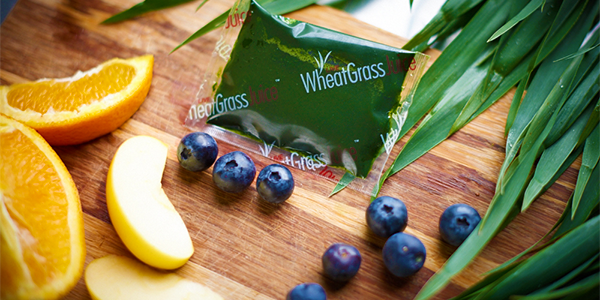 wheatgrass blueberries